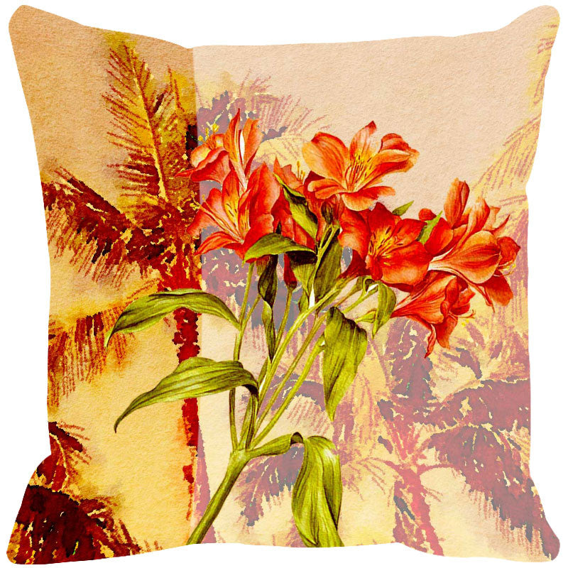 Leaf Designs Yellow Green Summer Floral Cushion Cover - Set Of 2