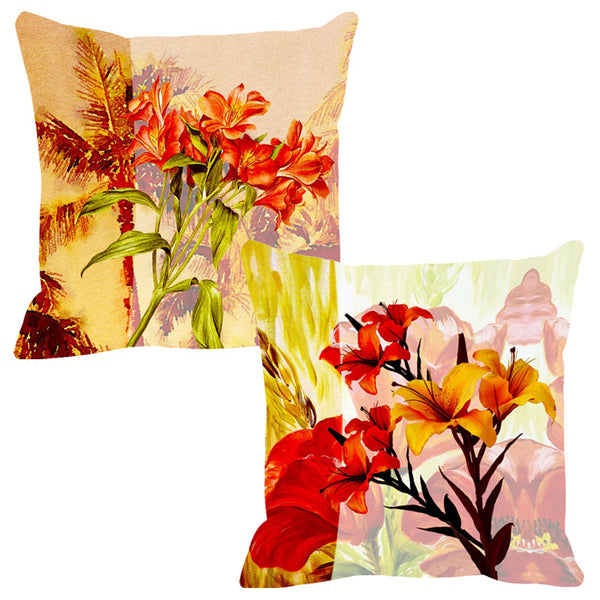 Leaf Designs Leaf Green & Red Cushion Cover - Set Of 2