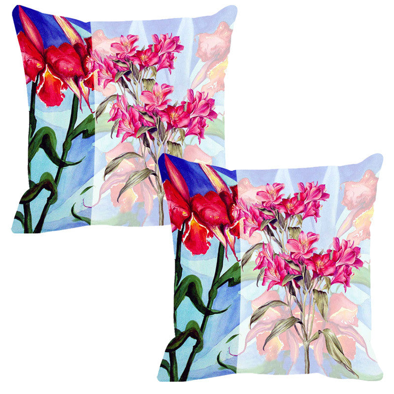 Leaf Designs Light Blue & Red Summer Floral Cushion Cover - Set Of 2