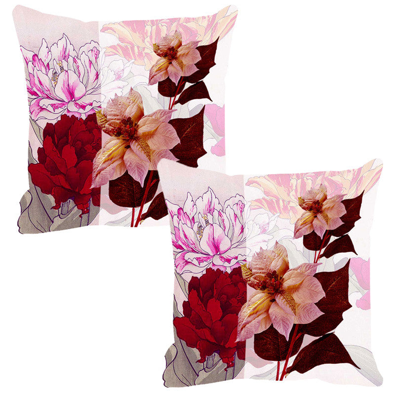 Leaf Designs Pale Pink & Deep Red Summer Floral Cushion Cover - Set Of 2