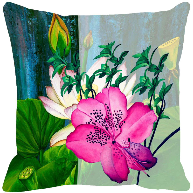 Leaf Designs Green Tones & Pink Summer Floral Cushion Cover - Set Of 2