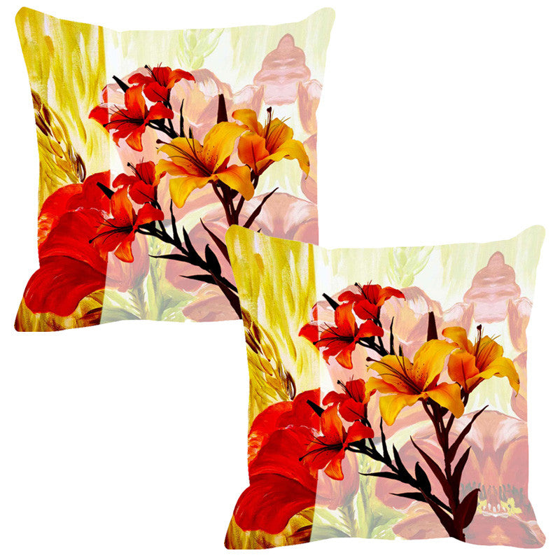 Leaf Designs Bright Red & Yellow Summer Floral Cushion Cover - Set Of 2