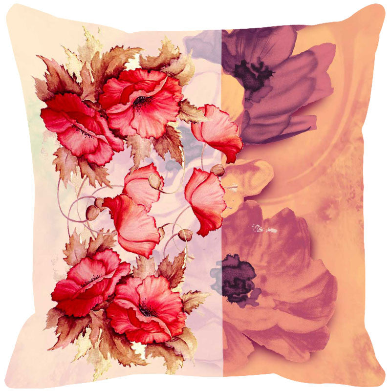 Leaf Designs Red & Peach Summer Floral Cushion Cover - Set Of 2
