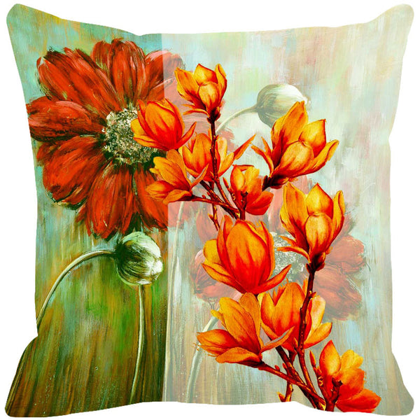 Leaf Designs Fiery Orange & Red Cushion Cover - Set Of 2