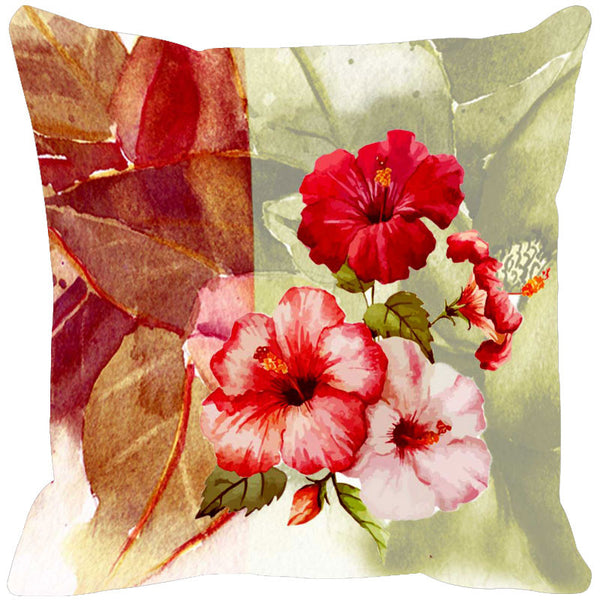 Leaf Designs Red & Pale Green Summer Floral Cushion Cover - Set Of 2