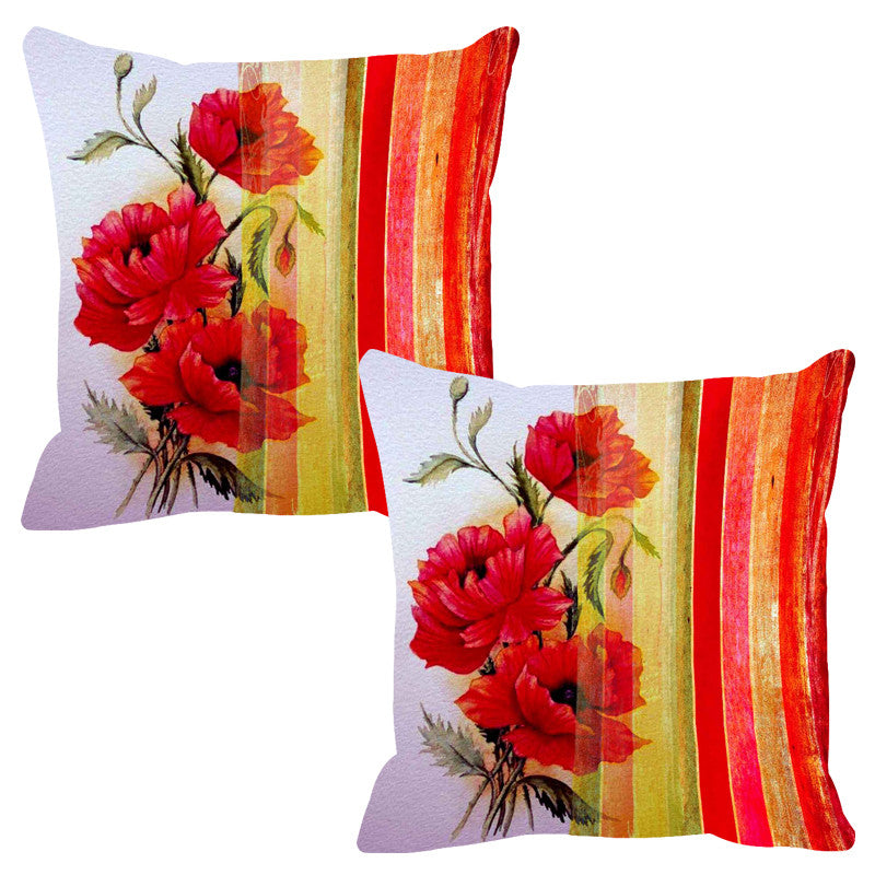 Leaf Designs Dual Red Stripe Cushion Cover - Set Of 2
