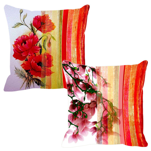 Leaf Designs Hot Red Stripe Cushion Cover - Set Of 2