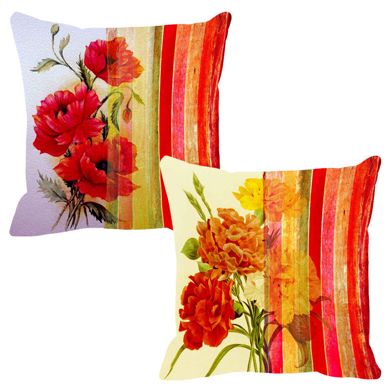 Leaf Designs Deep Red Stripe Cushion Cover - Set Of 2