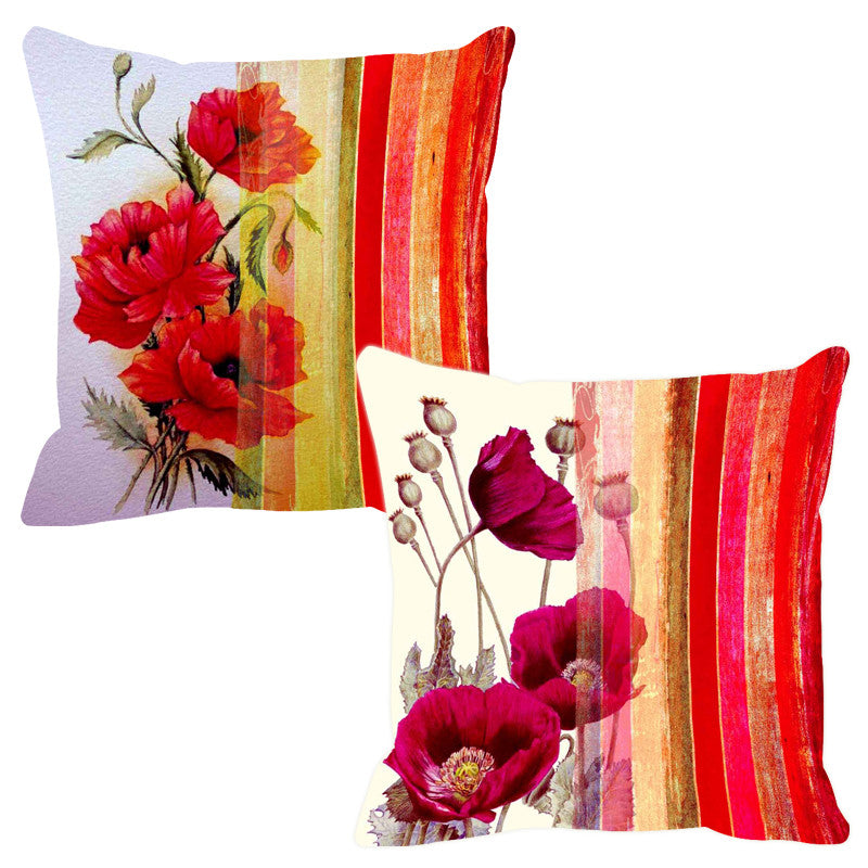 Leaf Designs Bold Red Stripe Cushion Cover - Set Of 2