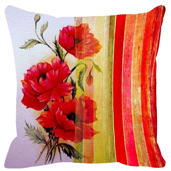 Leaf Designs Vivid Red Stripe Cushion Cover - Set Of 2