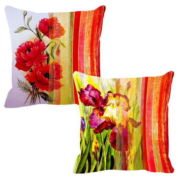 Leaf Designs Brilliant Red Stripe Cushion Cover - Set Of 2