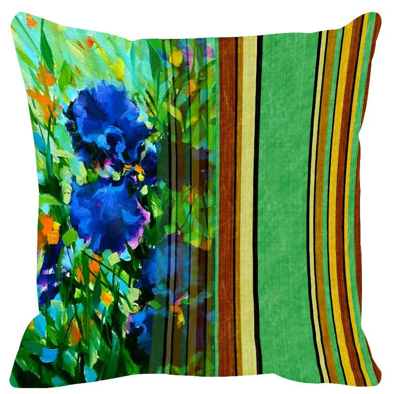 Leaf Designs Green Stripes Cushion Cover