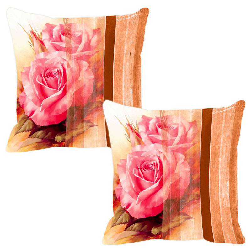 Leaf Designs Dual Peach Stripe Cushion Cover - Set Of 2