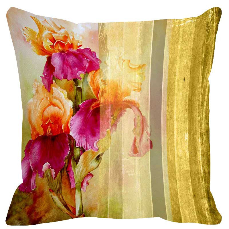 Leaf Designs Lemon Stripes Cushion Cover