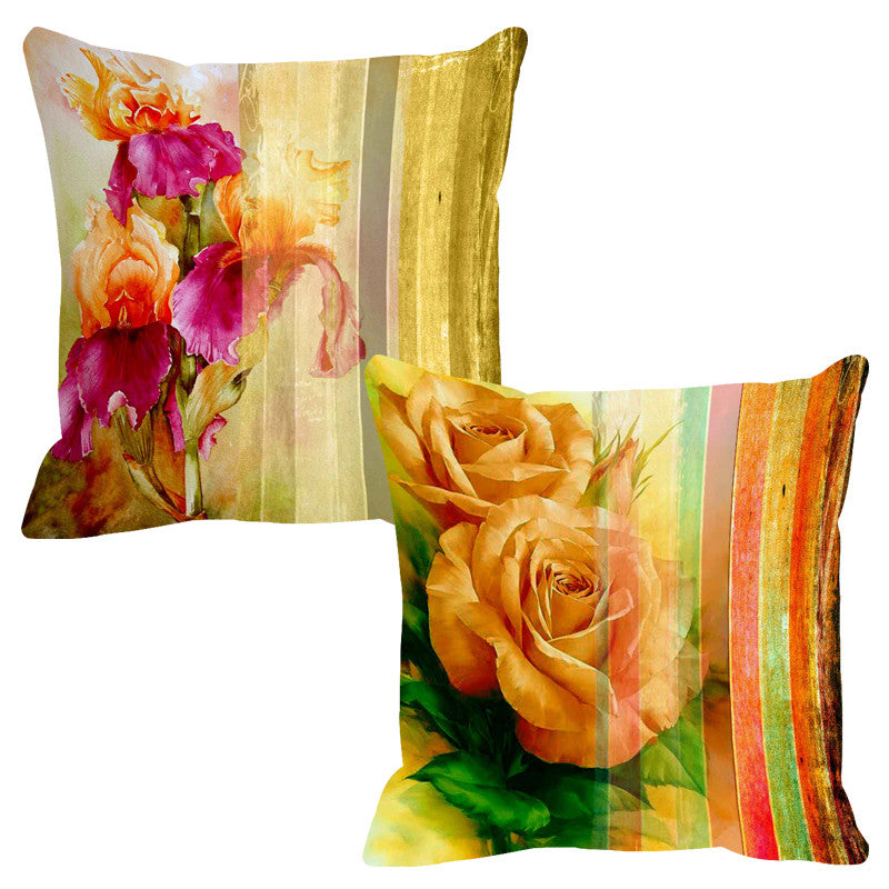Leaf Designs Citrus Yellow Stripe Cushion Cover - Set Of 2
