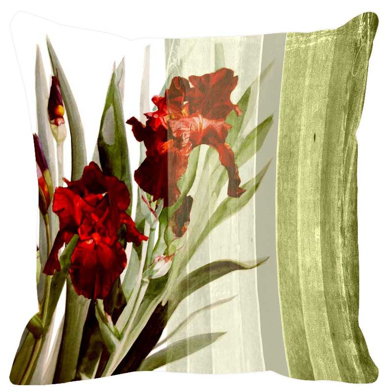 Leaf Designs Sap Green Stripes Cushion Cover
