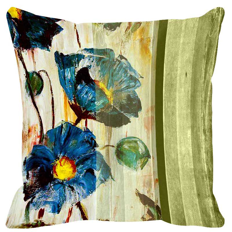 Leaf Designs Olive Green Stripe Cushion Cover - Set Of 2