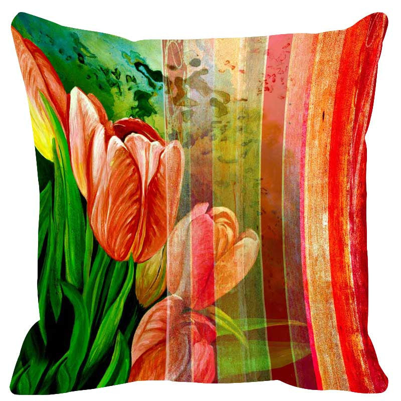 Leaf Designs Bright Red Stripes Cushion Cover
