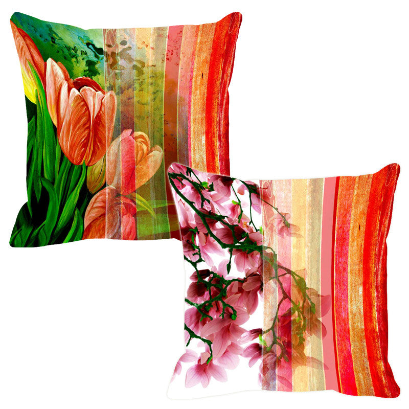 Leaf Designs Red & Lemon Stripe Cushion Cover - Set Of 2