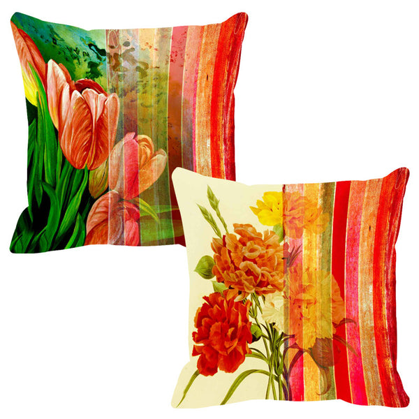 Leaf Designs Red & Ochre Stripe Cushion Cover - Set Of 2