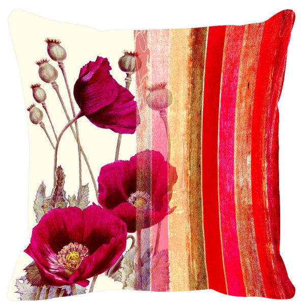 Leaf Designs Rich Red Stripe Cushion Cover - Set Of 2