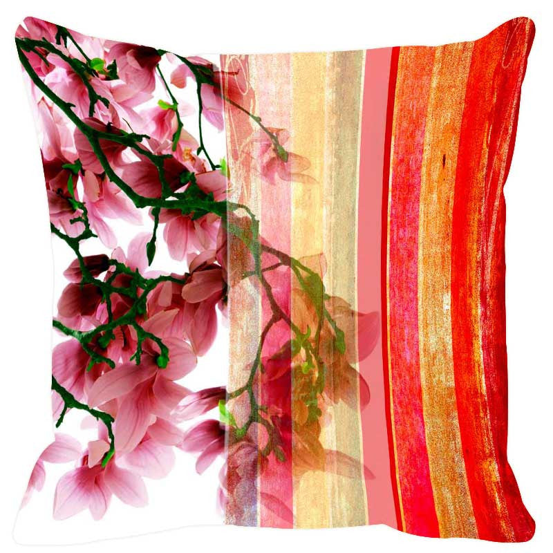 Leaf Designs Burning Red Stripe Cushion Cover - Set Of 2