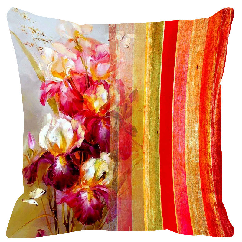 Leaf Designs Glossy Red Stripe Cushion Cover - Set Of 2