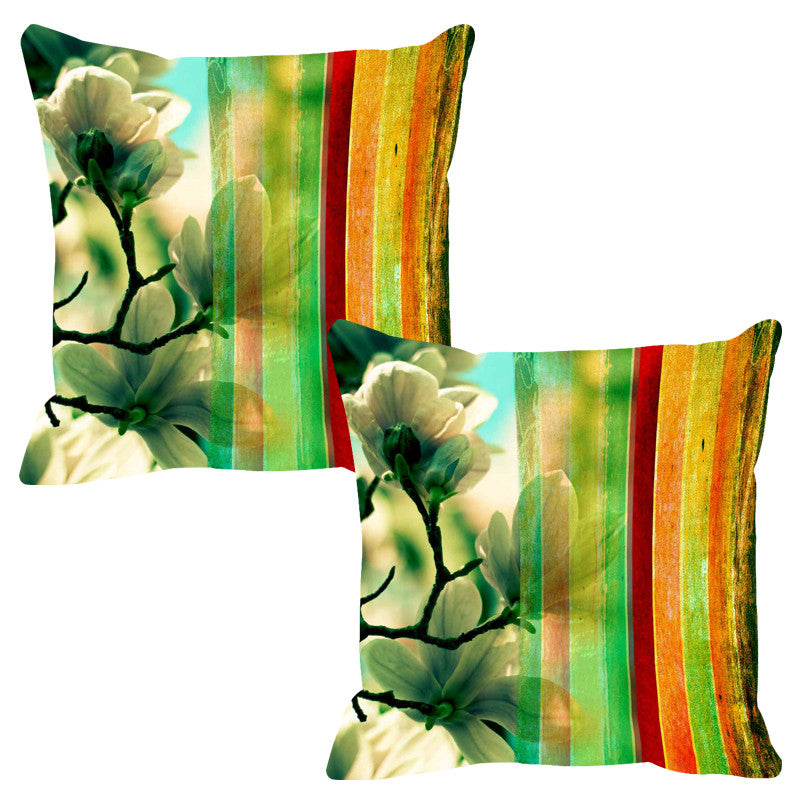 Leaf Designs Yellow Stripe Cushion Cover - Set Of 2