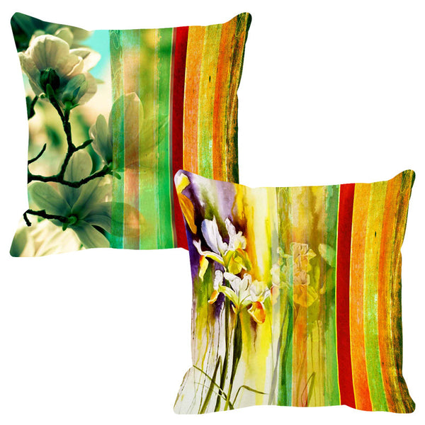 Leaf Designs Burning Yellow Stripe Cushion Cover - Set Of 2