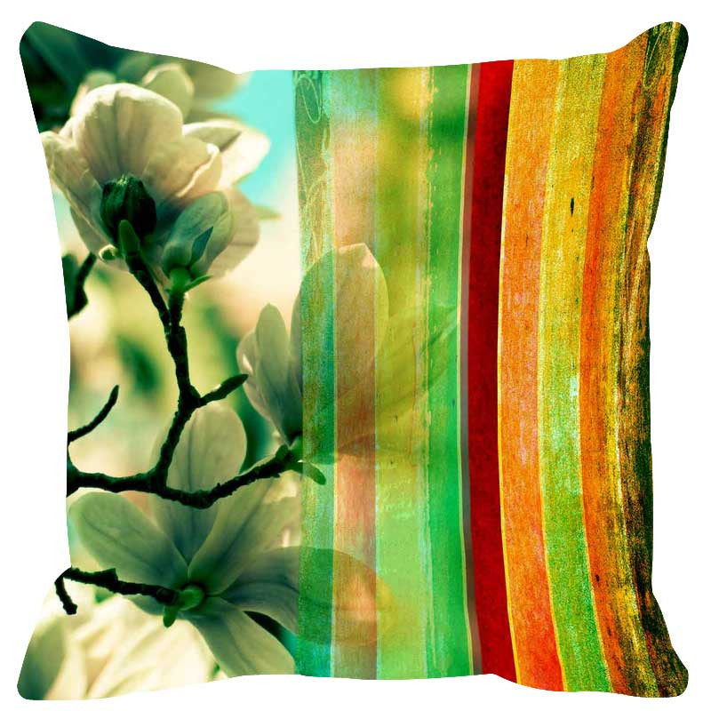 Leaf Designs Glaring Yellow Stripe Cushion Cover - Set Of 2