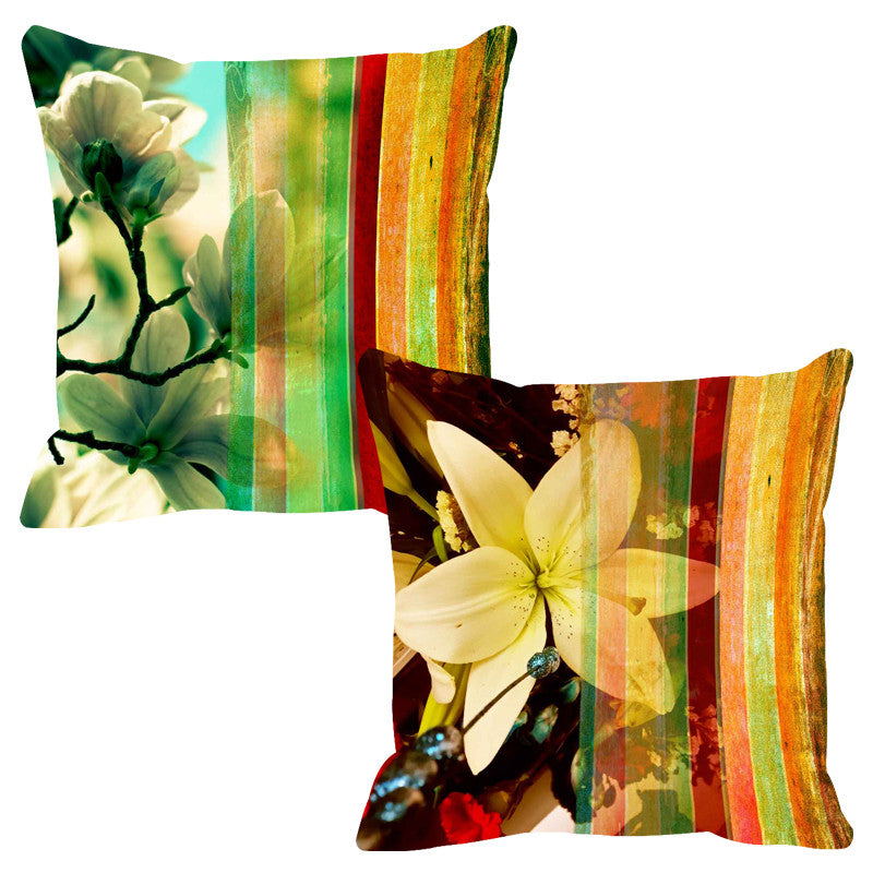 Leaf Designs Luminous Yellow Stripe Cushion Cover - Set Of 2