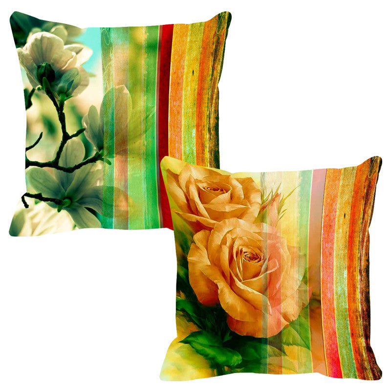 Leaf Designs Radiant Yellow Stripe Cushion Cover - Set Of 2