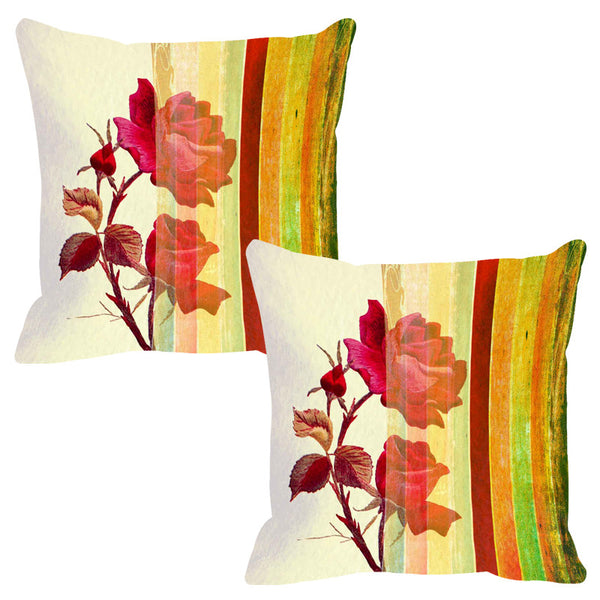 Leaf Designs Bright Yellow Stripe Cushion Cover (A) - Set Of 2