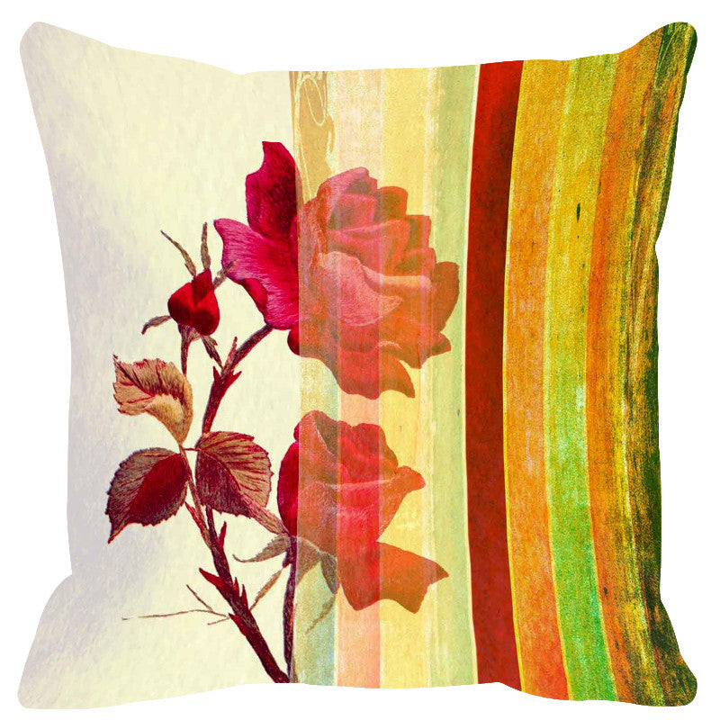 Leaf Designs Glossy Yellow Stripe Cushion Cover - Set Of 2