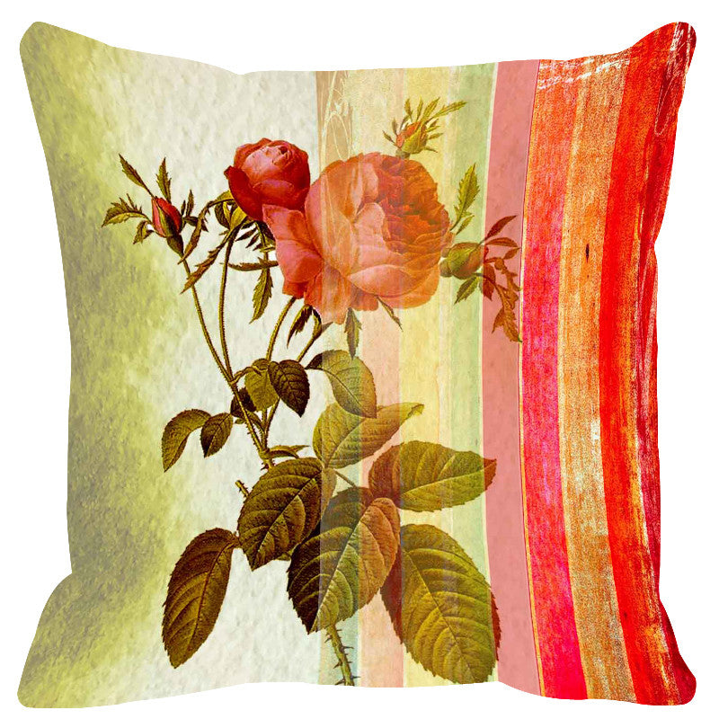 Leaf Designs Pink & Red Stripes Cushion Cover