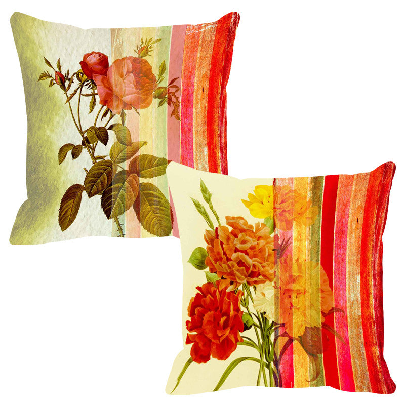 Leaf Designs Beaming Red Stripe Cushion Cover - Set Of 2