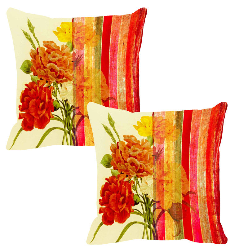 Leaf Designs Bold Red Stripe Cushion Cover (A) - Set Of 2