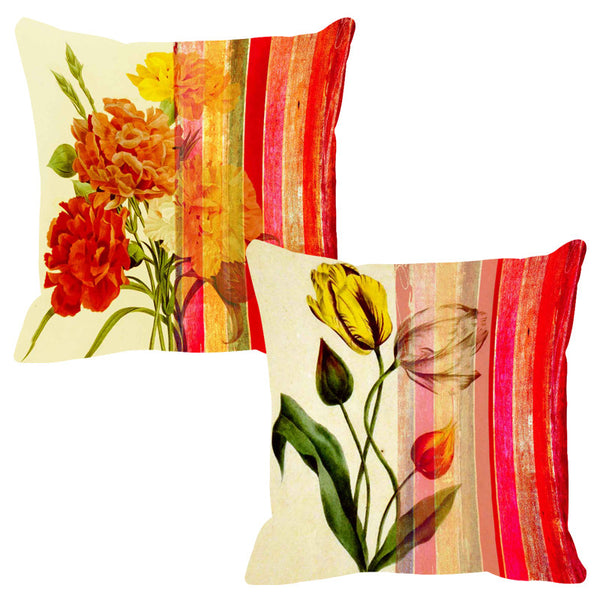 Leaf Designs Flame Red Stripe Cushion Cover - Set Of 2