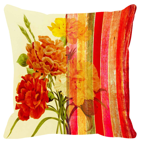 Leaf Designs Sunlit Red Stripe Cushion Cover - Set Of 2