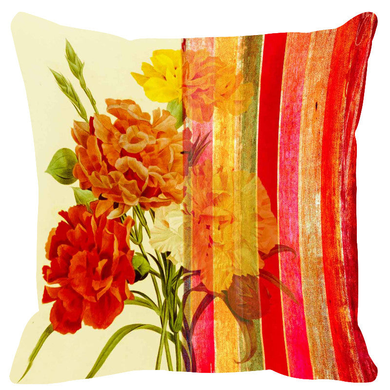 Leaf Designs Aglow Red Stripe Cushion Cover - Set Of 2