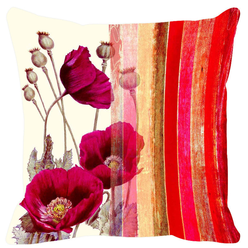 Leaf Designs Red & Pink Stripes Cushion Cover