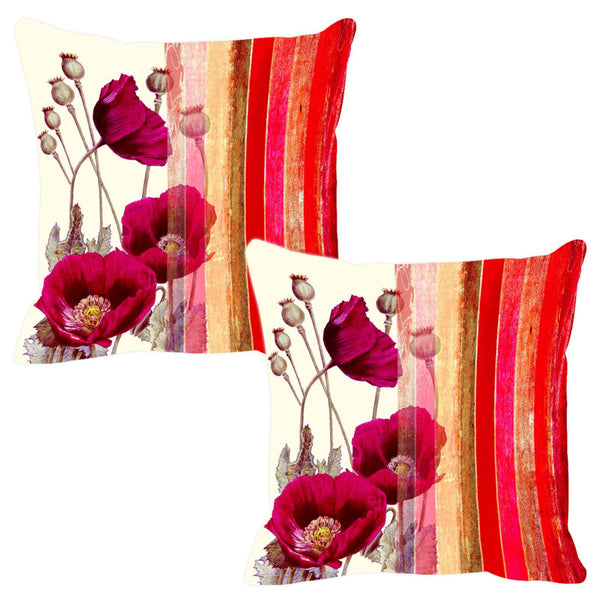 Leaf Designs Red & Pink Stripe Cushion Cover - Set Of 2