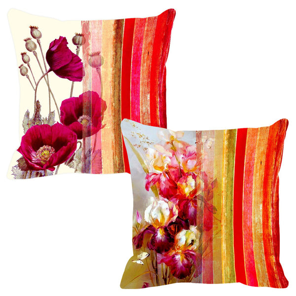Leaf Designs Twinkling Pink Stripe Cushion Cover - Set Of 2