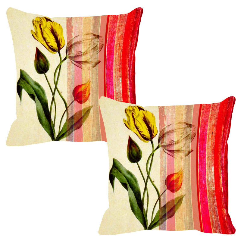 Leaf Designs Red & Beige Stripe Cushion Cover - Set Of 2