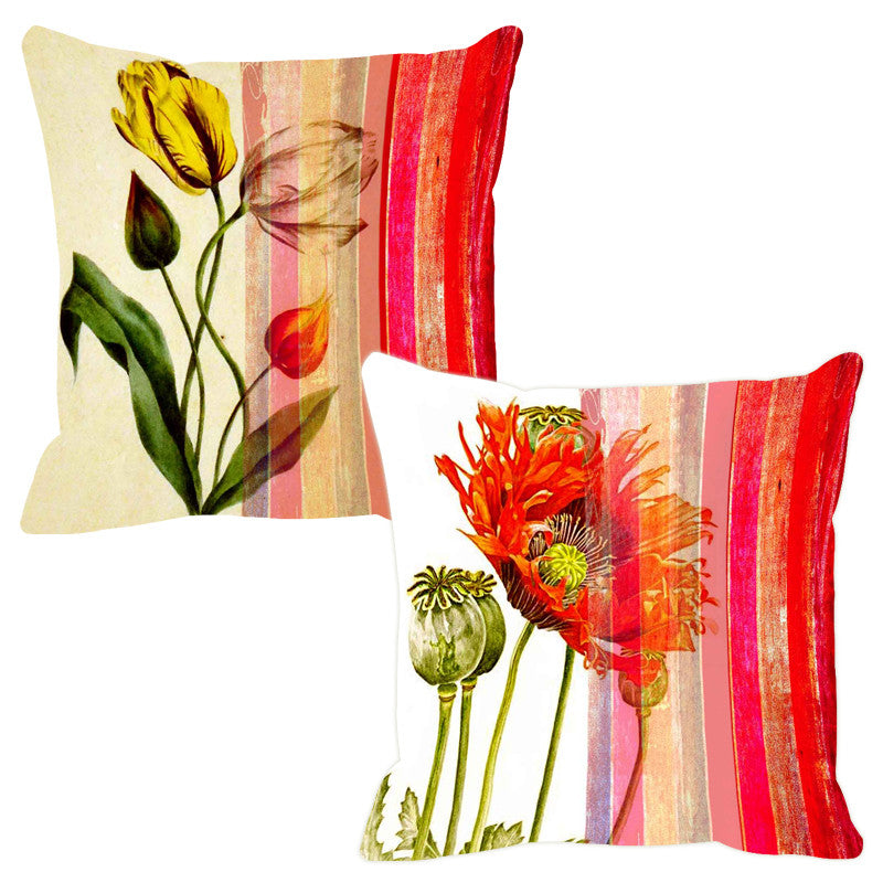 Leaf Designs Glistening Pink Stripe Cushion Cover - Set Of 2