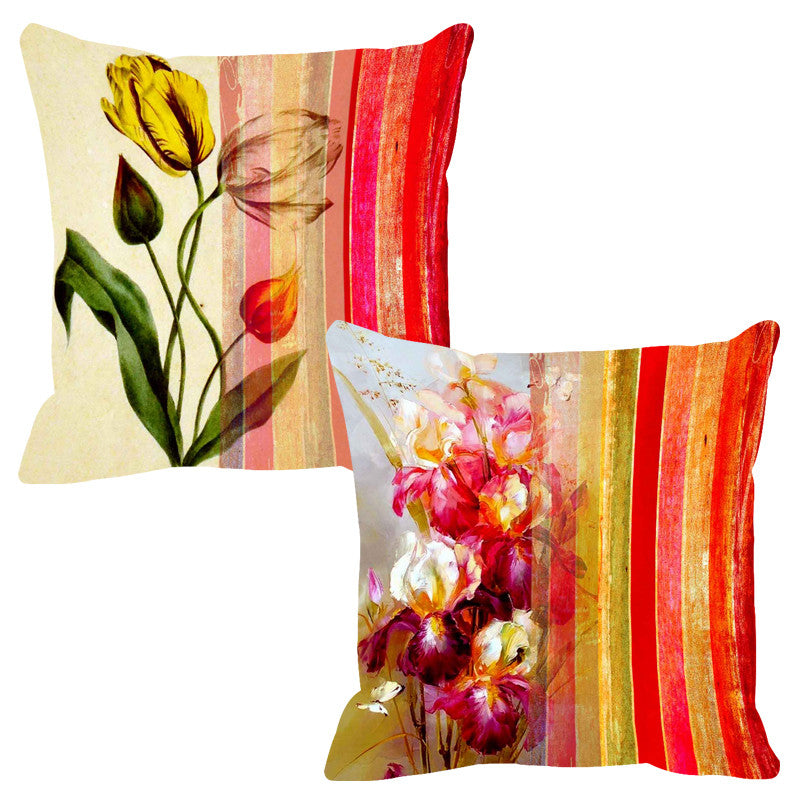 Leaf Designs Rosy Pink Stripe Cushion Cover - Set Of 2