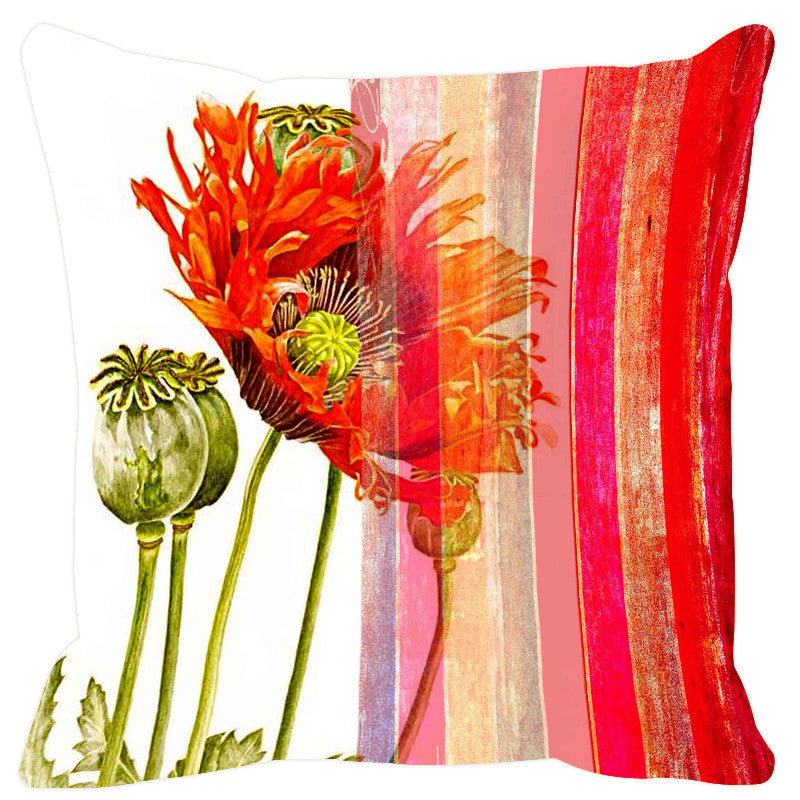 Leaf Designs Beige & Red Stripes Cushion Cover