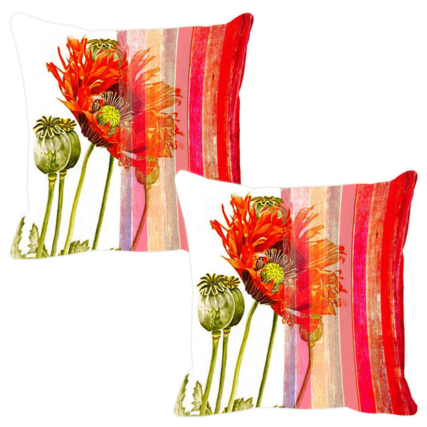 Leaf Designs Beige & Red Stripe Cushion Cover - Set Of 2