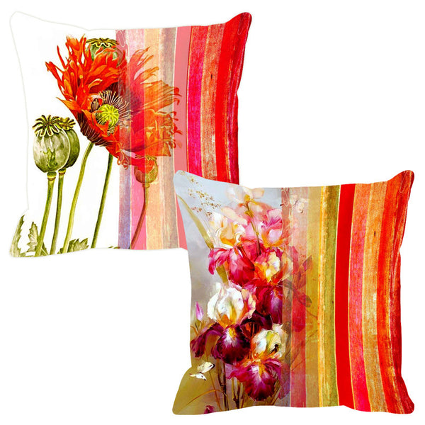 Leaf Designs Delicate Pink Stripe Cushion Cover - Set Of 2