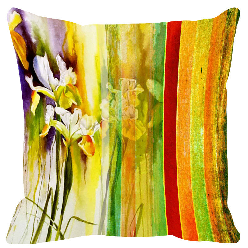 Leaf Designs Bright Yellow Stripe Cushion Cover - Set Of 2